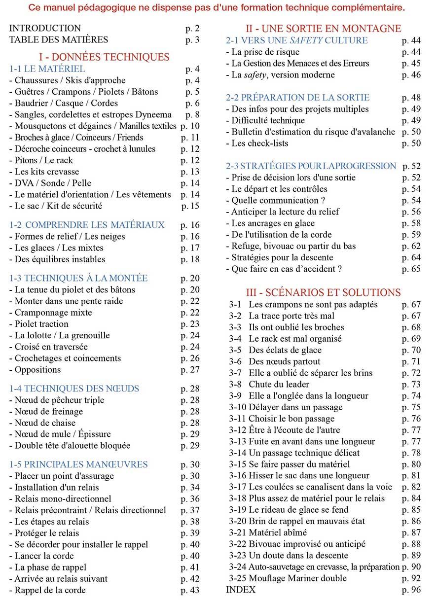 mountain essentials - progresser en neige glace mixte - livre manuel techniques securite alpinisme page3